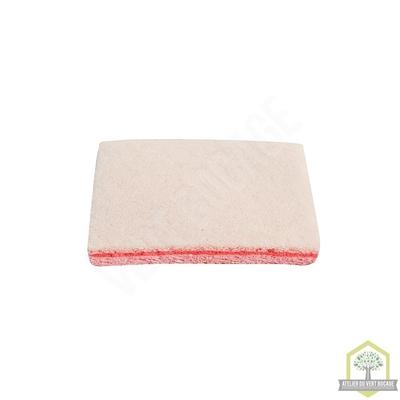 Eponge végétale à récurer blanche sur tampon rose