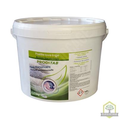 Pastilles lave-linge Action bactéricide -  Seau de 4,375 Kgs (125 pastilles)