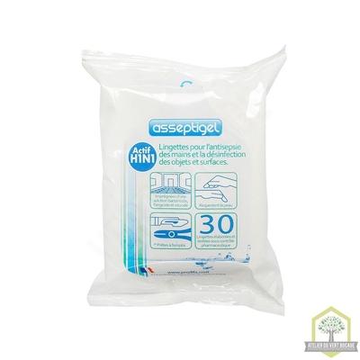 Lingettes mains antiseptiques, enrichies à la glycérine, formule hypoallergénique - Paquet de 30