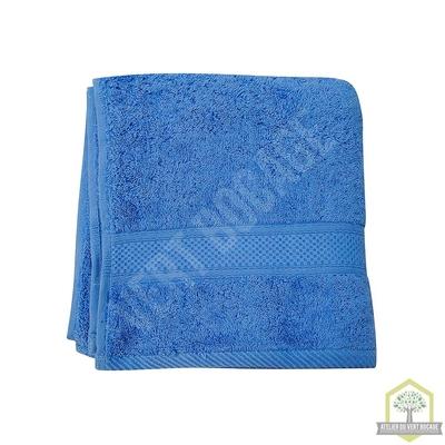 Serviette de toilette éponge 100% coton bleu 50x100 cm