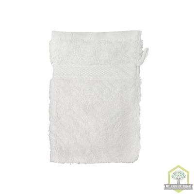 Gant de toilette 100% coton blanc 15x20 cm