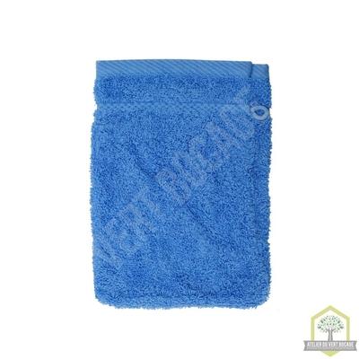 Gant de toilette 100% coton bleu 15x20 cm